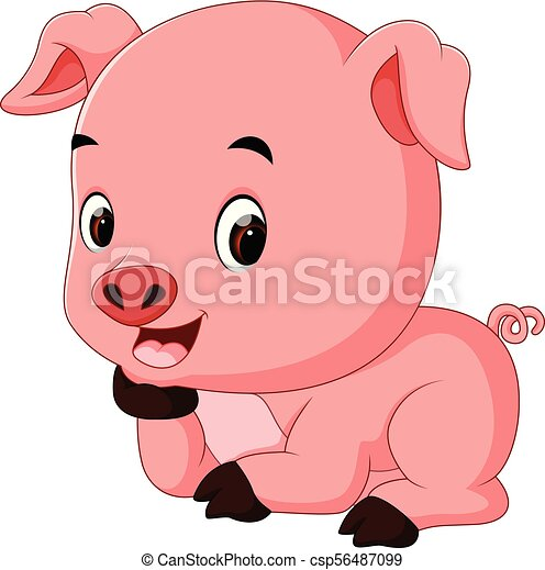 funny pig cartoon - csp56487099