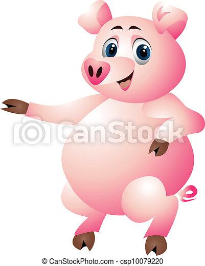 funny pig cartoon - csp10079220
