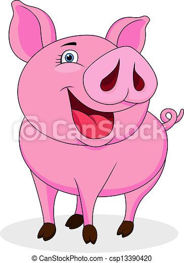 Funny pig cartoon - csp13390420