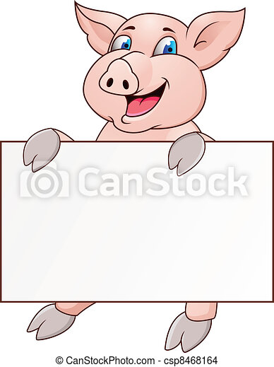 Funny pig cartoon with blank sign - csp8468164