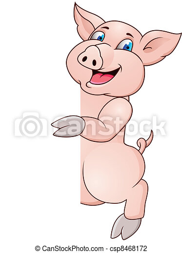 Funny pig cartoon wiyh blank sign - csp8468172