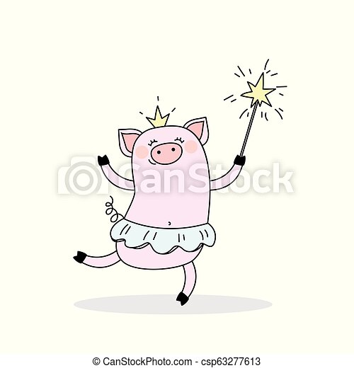 Funny piggy princess, jumping pig ballerina with a crown and a magic wand - csp63277613