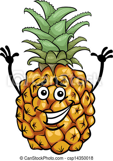 funny pineapple fruit cartoon illustration - csp14350018