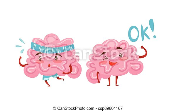 Funny Pink Brain with Arms and Legs Running and Showing Ok Gesture Vector Set - csp89604167