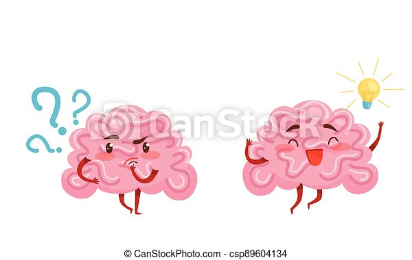 Funny Pink Brain with Arms and Legs Thinking and Finding Idea or Solution Vector Set - csp89604134