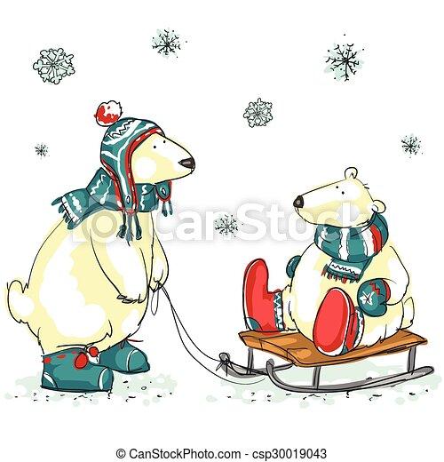 Funny polar bears  - csp30019043