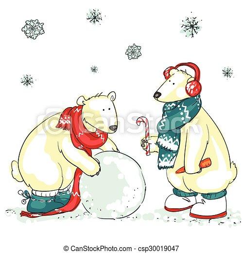 Funny polar bears  - csp30019047