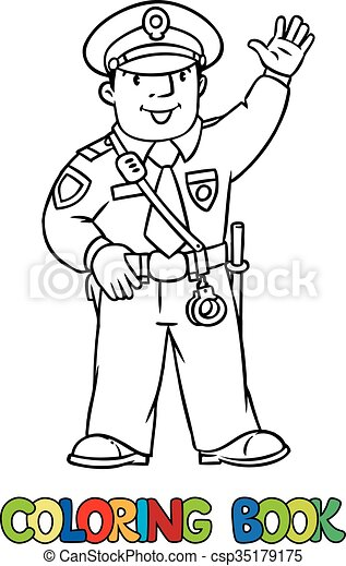 Funny policeman. coloring book. Coloring picture or coloring book of ...