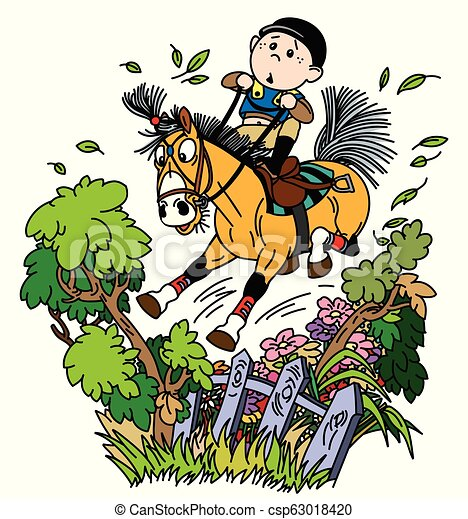 Funny Pony Riding Cartoon Boy Jockey Riding His Pony Horse And Training To Jump Over Fence Funny Equestrian Cross Country