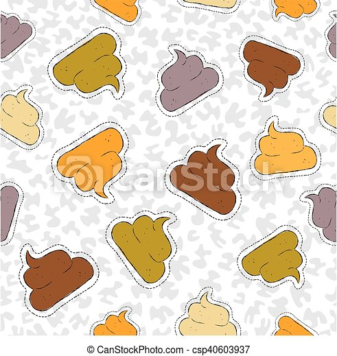 Funny poop hand drawn patch icon seamless pattern - csp40603937