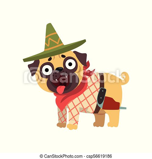9d46dc59 Funny Pug Dog Character Wearing Mexican Sombrero Hat And Red Poncho Vector  Illustration On A White