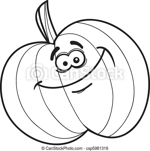 illustration of funny pumpkin for coloring book