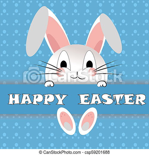 Funny Rabbit Baner Happy Easter On The Blue Background