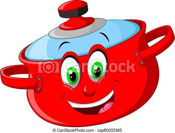 Funny Red Pan Cartoon - csp80033365