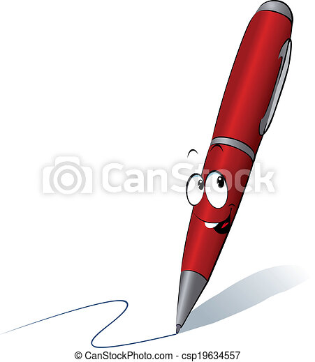 Funny red pen cartoon writing clipart vector - Search Illustration