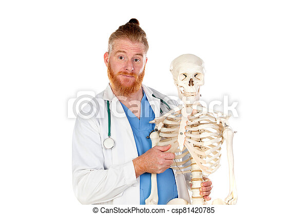 Funny redhead doctor with a skeleton - csp81420785
