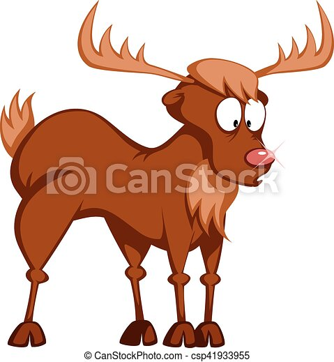 funny reindeer a cute reindeer rudolph is standing and rh canstockphoto com cute cartoon reindeer clipart cute reindeer face clipart