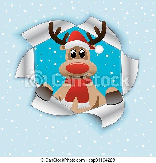 2b38d07c9a4ec funny reindeer in Christmas hat - csp31194228