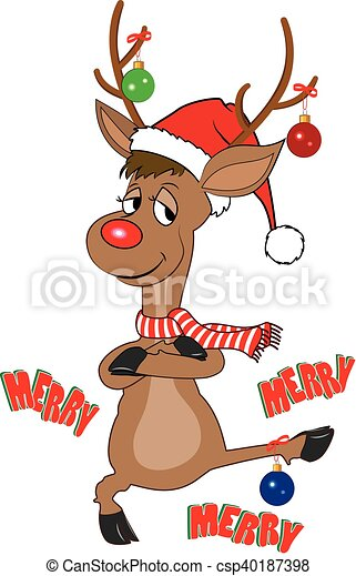 4862176ccc2eb Funny reindeer with christmas balls. Illustration of funny reindeer ...