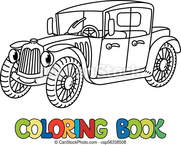 Funny Retro Car With Eyes Coloring Book
