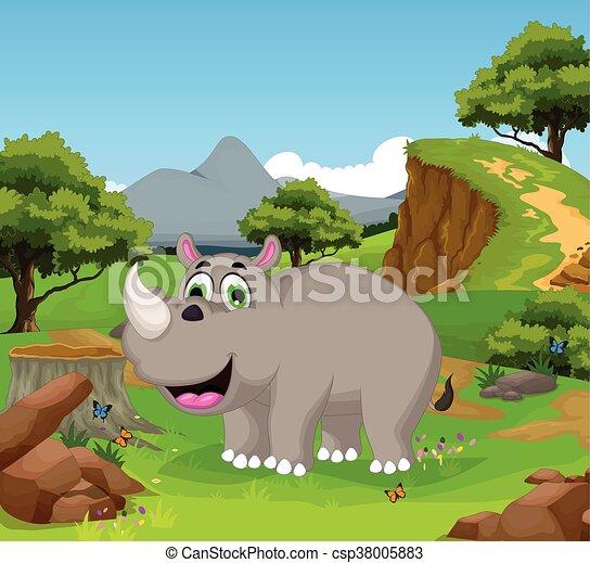 Vector illustration of funny rhino cartoon in the jungle.