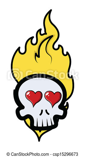 Funny Romantic Skull With Fire