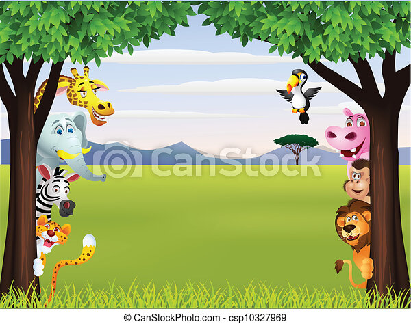 Funny safari animal cartoon - csp10327969