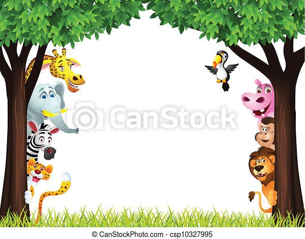 Funny safari animal cartoon - csp10327995