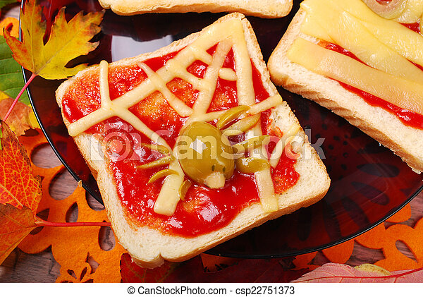 funny sandwich with spider web for halloween - csp22751373