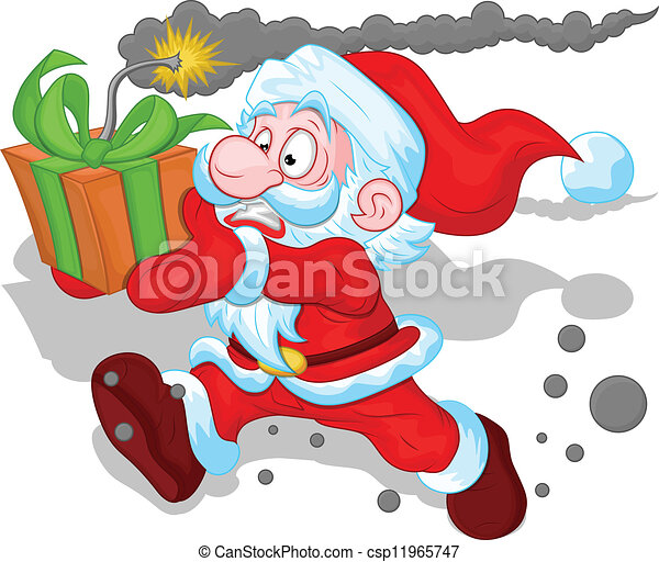 Funny santa running with gift bomb. Creative abstract ...