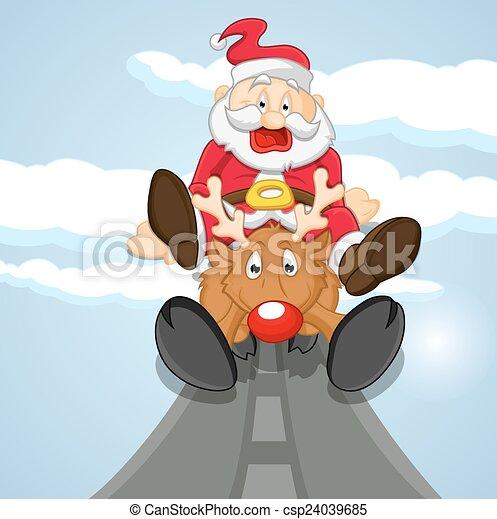 funny santa with reindeer csp24039685 - Santa With Reindeer