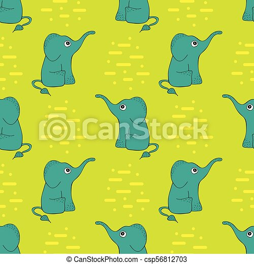 Funny seamless pattern with cute elephants. - csp56812703