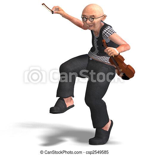 funny senior plays the violin - csp2549585
