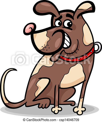 funny sitting dog cartoon illustration - csp14046709