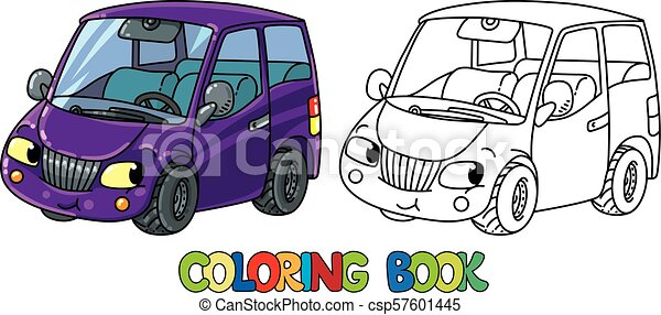 Funny Small Car With Eyes Coloring Book