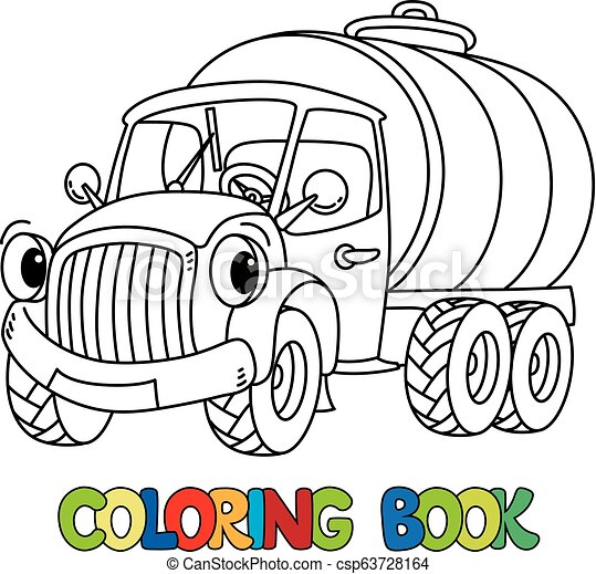 Funny small milk truck with eyes. Coloring book