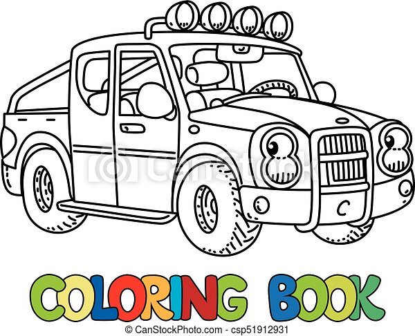Funny small pickup truck with eyes. Coloring book