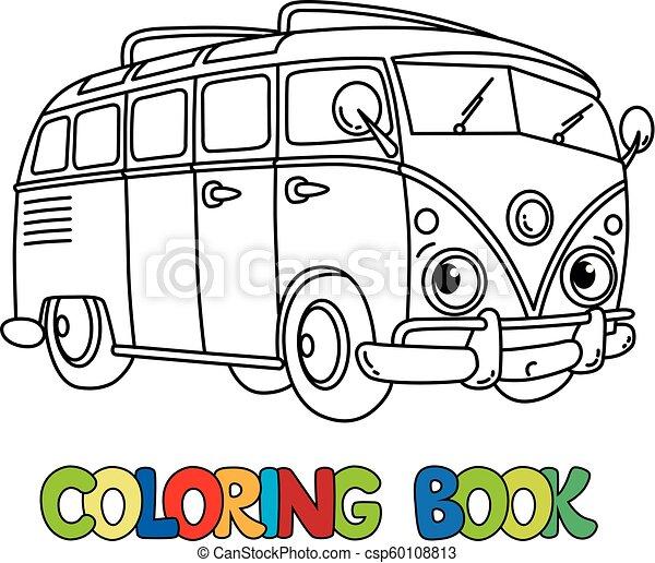 Funny small retro bus with eyes. coloring book. Vintage retro bus ...