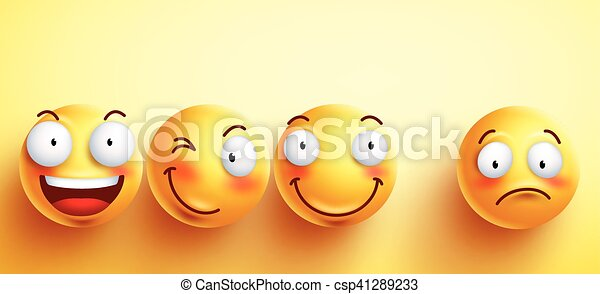 Funny smileys vector faces with happy smile - csp41289233