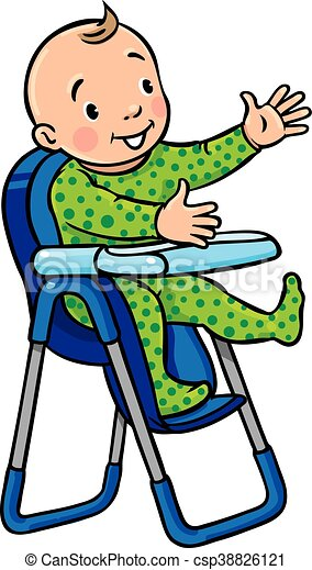 Funny smiling baby in the highchair - csp38826121  sc 1 st  Can Stock Photo & Funny smiling baby in the highchair. Children vector illustration of ...
