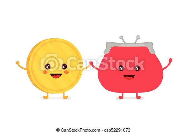 Funny smiling cute gold coin and red - csp52291073