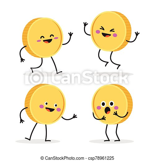 Funny smiling cute gold coin. - csp78961225