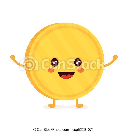 Funny smiling cute gold coin. Vector - csp52291071