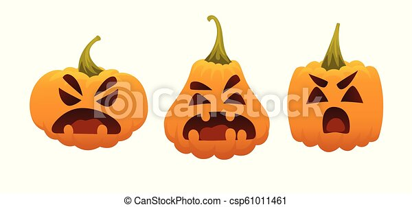 Funny Smiling Halloween Pumpkins. Vector illustration of Halloween Symbol in different forms on white background. Round, square and triangular gourds. Set of emotional faces. Emoji - csp61011461