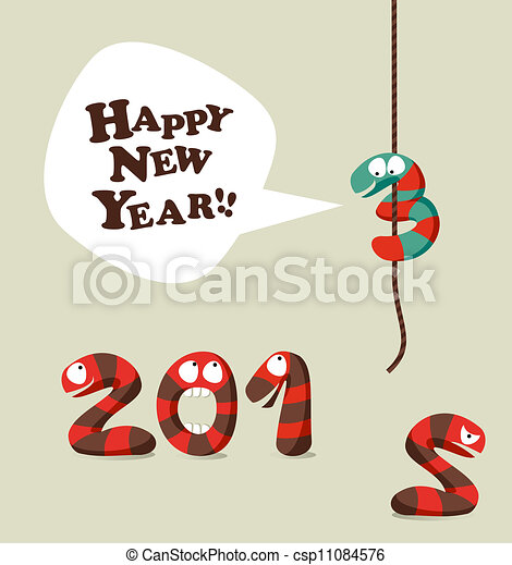Funny snake happy new year 2013 greeting card. New 2013 year ...