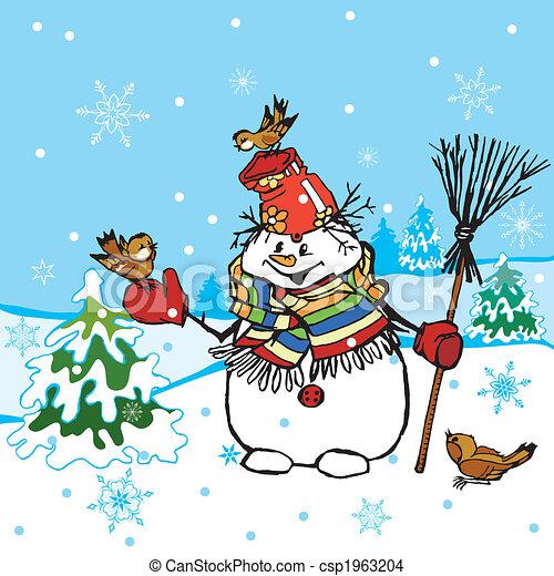 Funny Snowman Scene - csp1963204