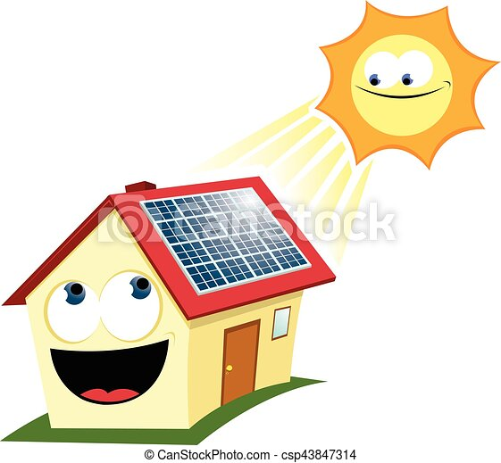 funny solar panel a vector cartoon representing a house vector rh canstockphoto com renewable energy clipart