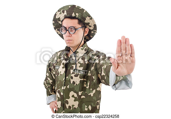 Funny soldier in military concept - csp22324258