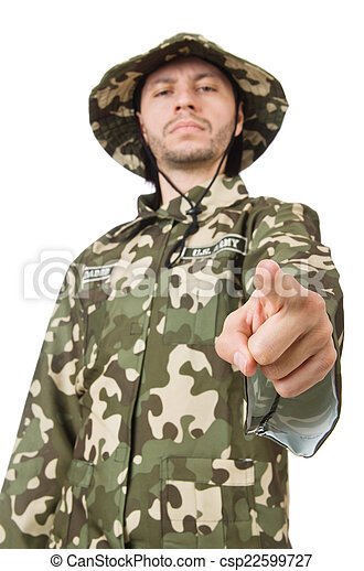 Funny soldier in military concept - csp22599727