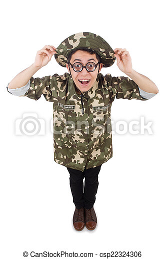 Funny soldier in military concept - csp22324306